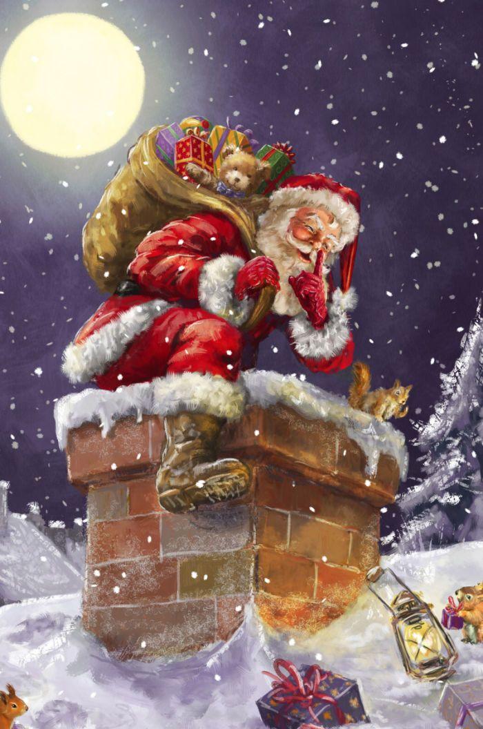 Фотки, новогодняя открытка дед мороз смотрит в окно