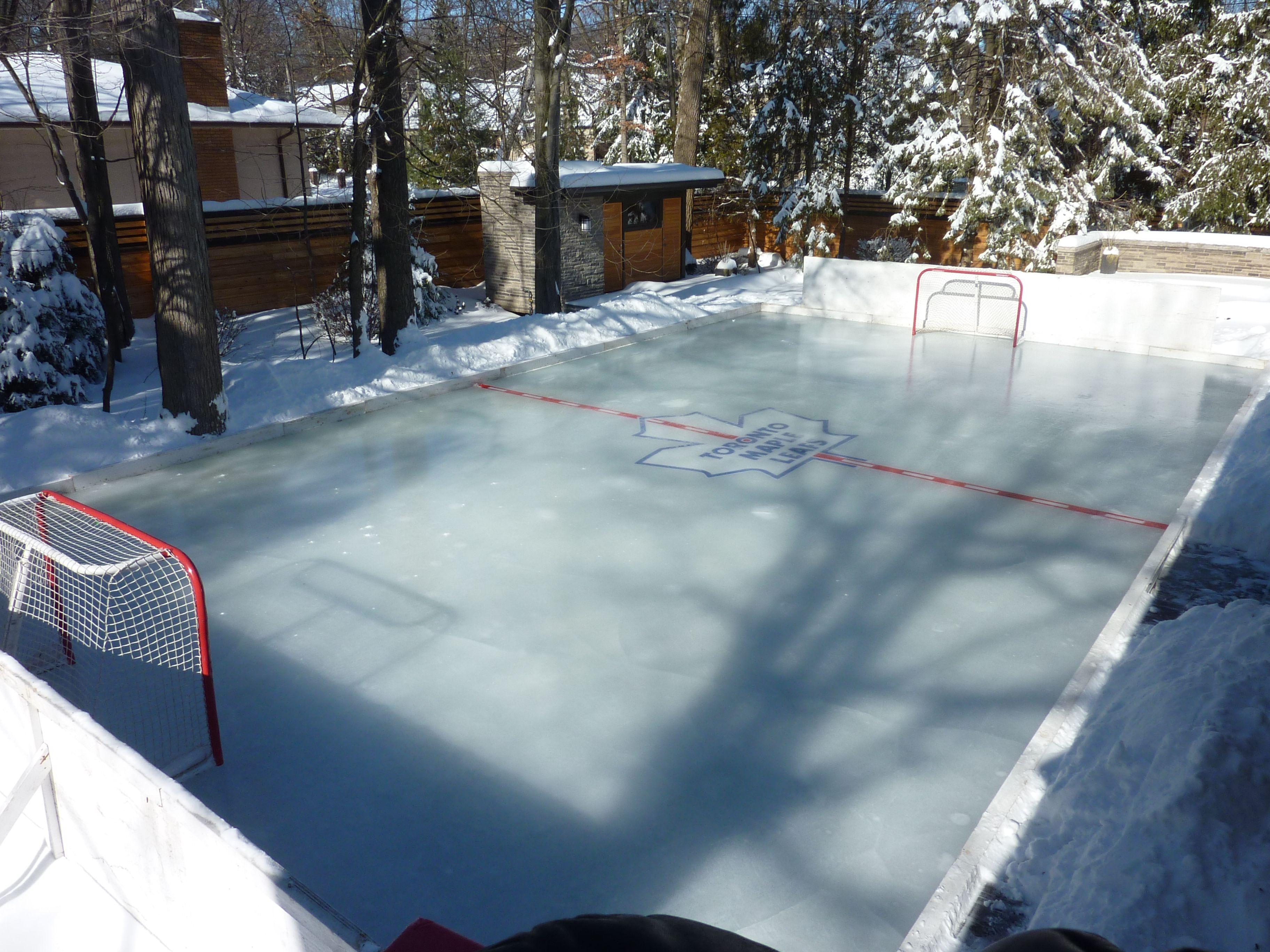 David S Backyard Skating Rink Goleafsgo Tml Backyard Rink Backyard Ice Rink Ice Hockey Rink Hockey Mom Backyard hockey rink kit