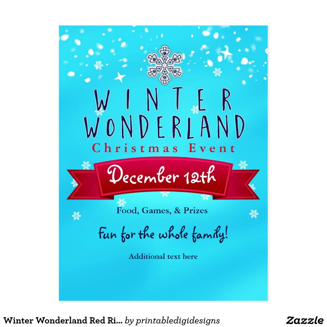 Winter Wonderland Red Ribbon Blue Holiday Postcard | Holiday postcards