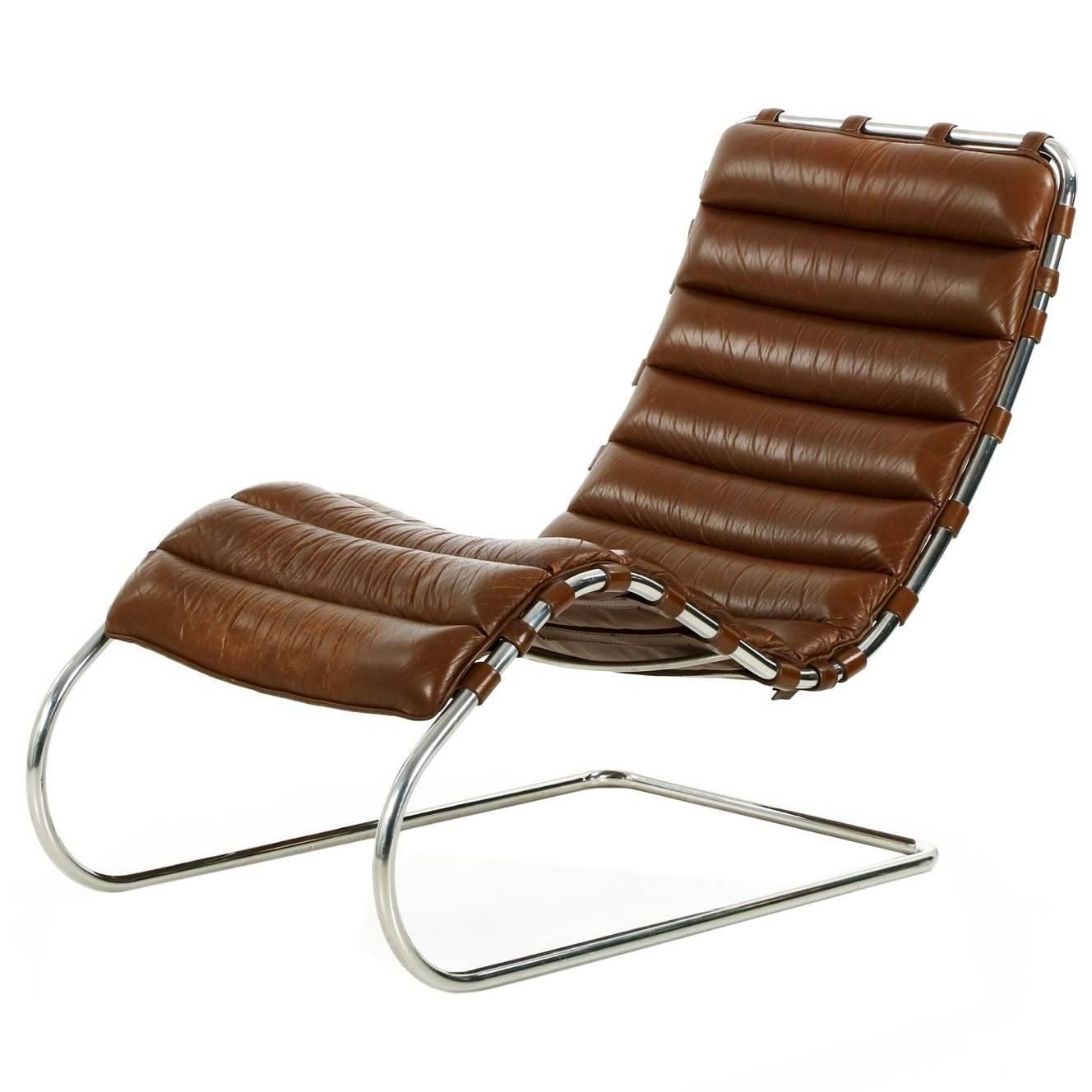 Fine Mies Van Der Rohe For Knoll MR Chaise Lounge In Original Leather