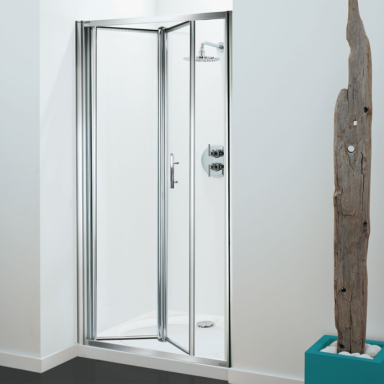 Coram Optima Bi Fold Shower Door 900mm Wide 4mm Plain Glass Puertas