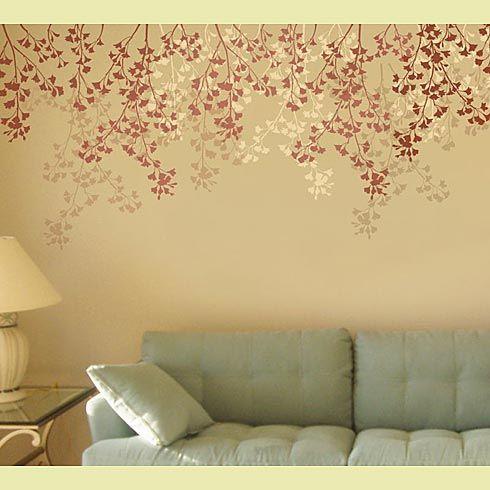 Weeping Cherry Wall Stencil, cutting edge. no brown stems. Same ...