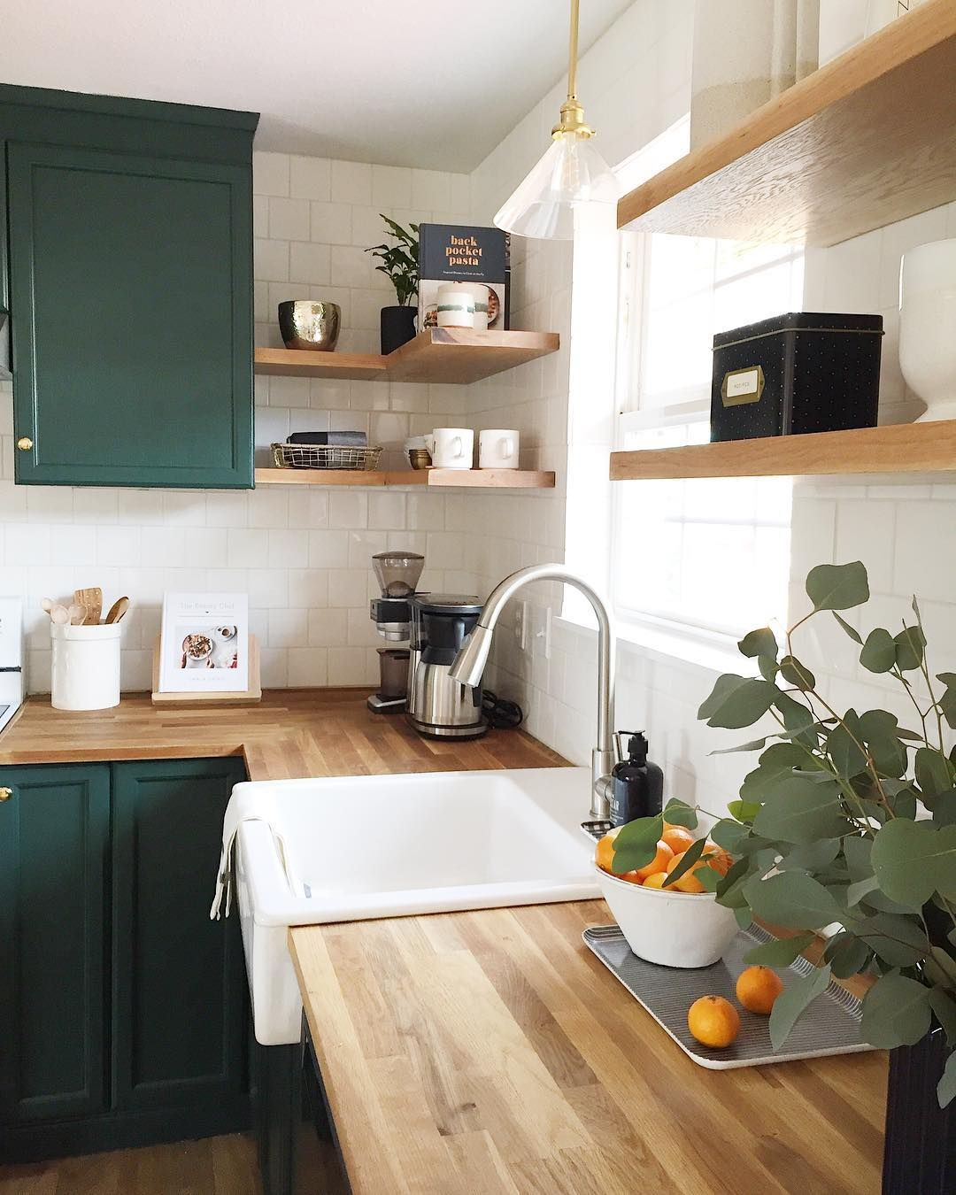 Benjamin Moore Forest Green Painted Kitchen Cabinets