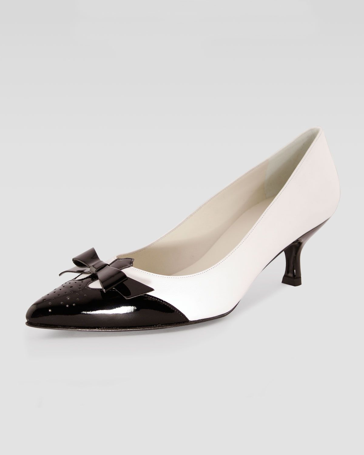 black and white kitten pumps | Shoes, Kitten heel shoes