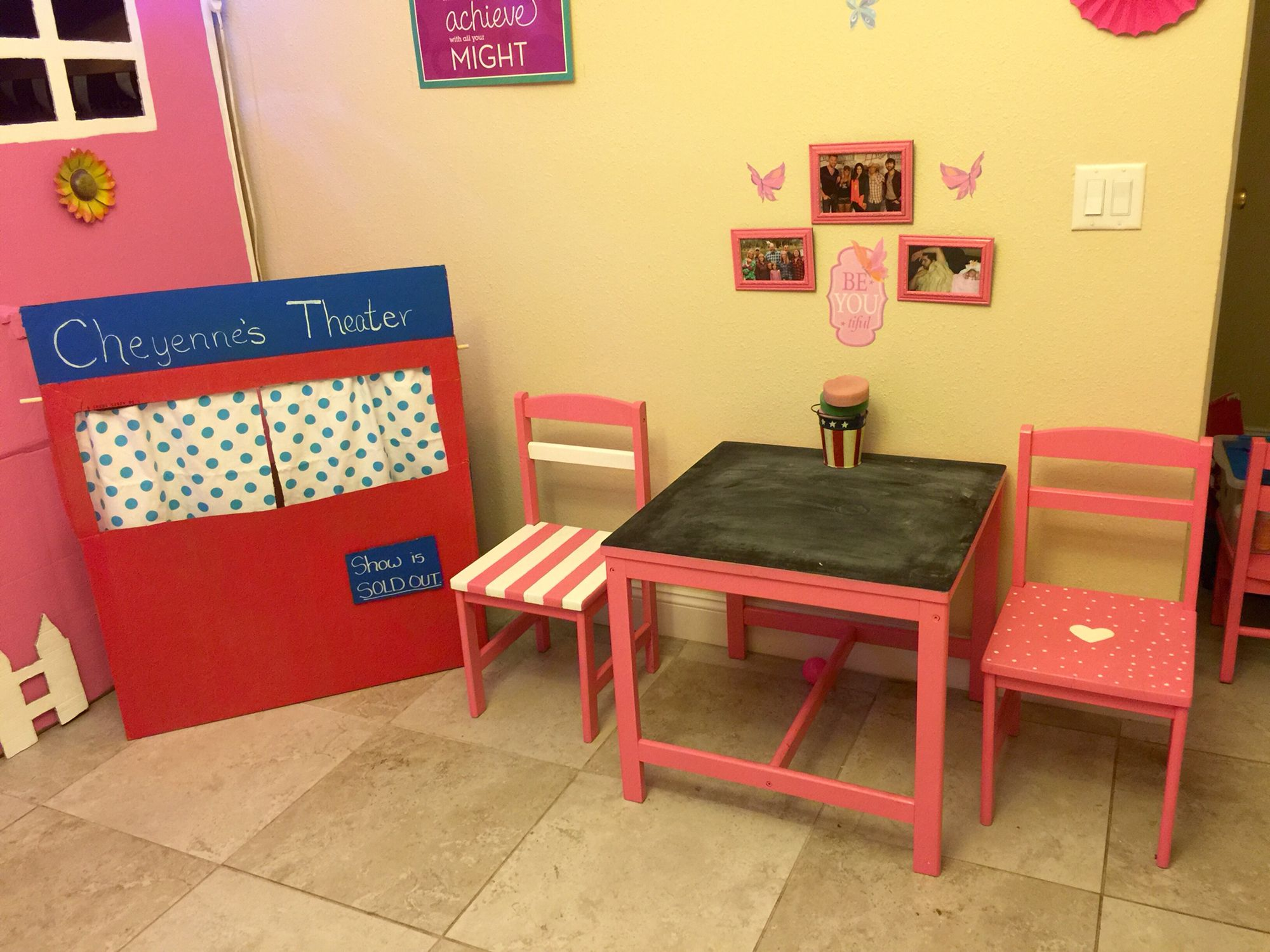 Girls Play Room Cardboard Puppet Theatre And Hand Painted Chairs And Chalkboard Table Hand Painted Chairs Playroom Painted Chairs