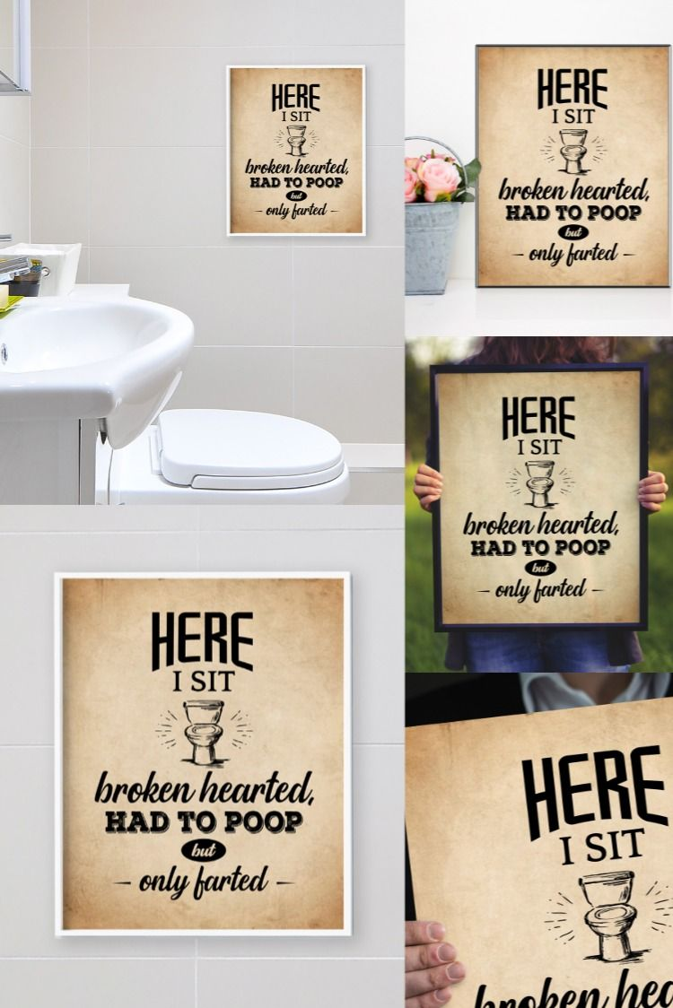 Funny Bathroom Wall Art And Toilet Sign Here I Sit Broken