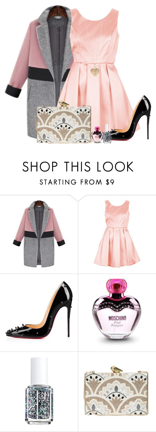 """Because of you I find it hard to trust not only me, but everyone around me."" by grrxcia ❤ liked on Polyvore featuring Topshop, Christian Louboutin, Moschino, Essie, KOTUR, Betsey Johnson, women's clothing, women's fashion, women and female"