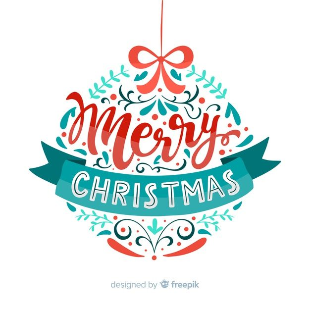 Download Merry Christmas Globe Lettering for free