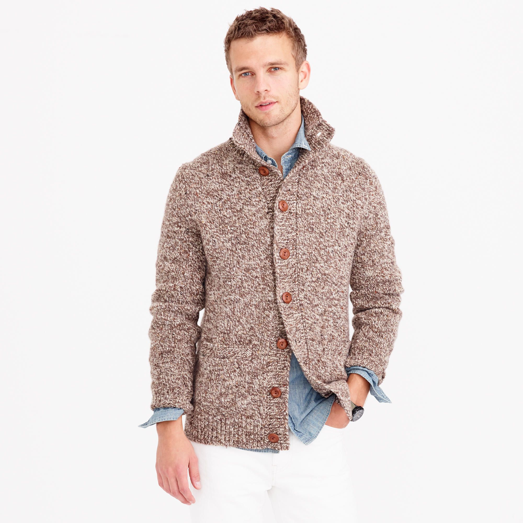 Donegal Wool Mockneck Cardigan Sweater : Men's Sweaters | J.Crew ...
