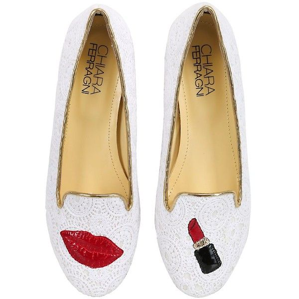 CHIARA FERRAGNI 10mm Lipstick Lace Loafers ($211) ❤ liked on Polyvore featuring shoes, loafers, flats, scarpe, white, metallic flats, loafer flats, white shoes, white lace flats and metallic flat shoes