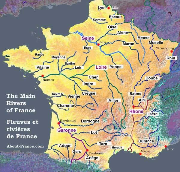 Map Of The Main Rivers Of France Carte De France Departement
