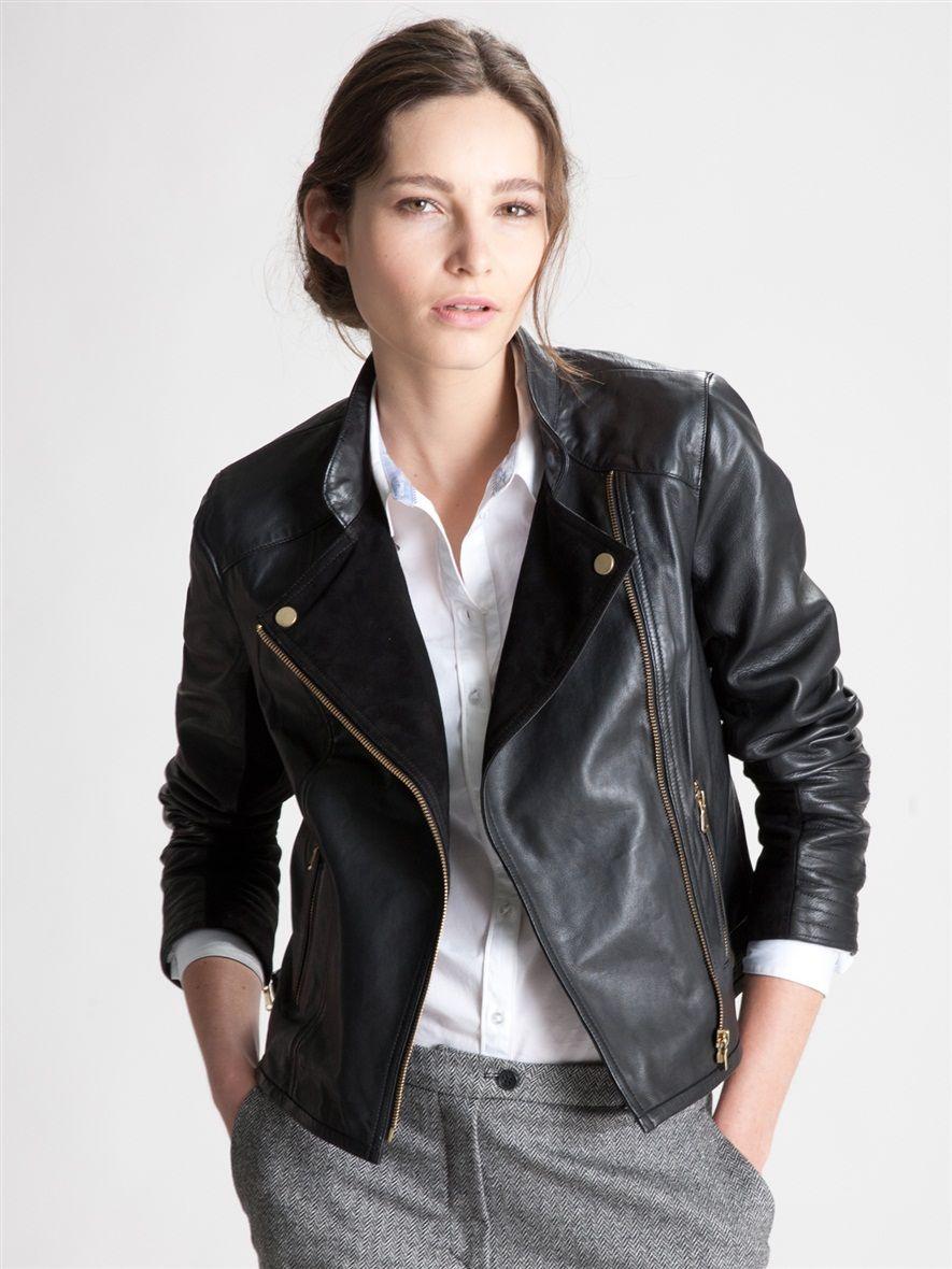 Veste en cuir femme avec epaulette