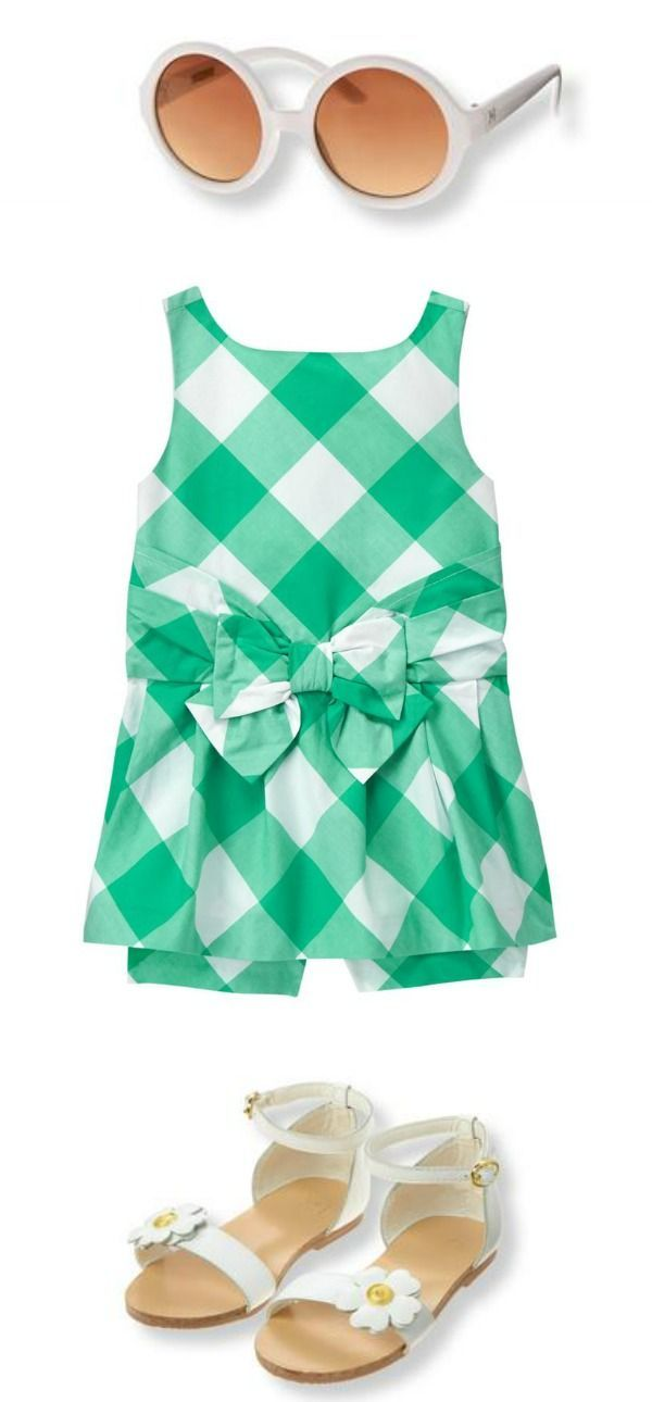 c63df1094c7 Teal gingham romper from Janie and Jack. Round sunglasses and Floral  sandals for girls.  Affiliate