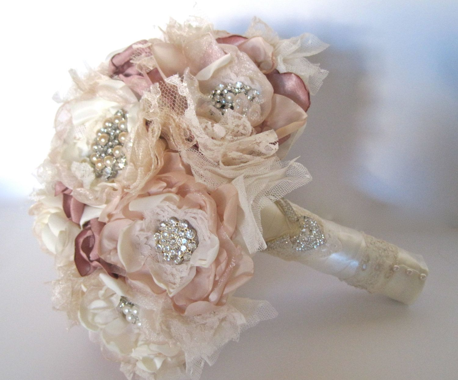 Wedding Bouquet Vintage Inspired Fabric Brooch In Ivory Champagne And Dusty Rose With Pearls Rhinestones