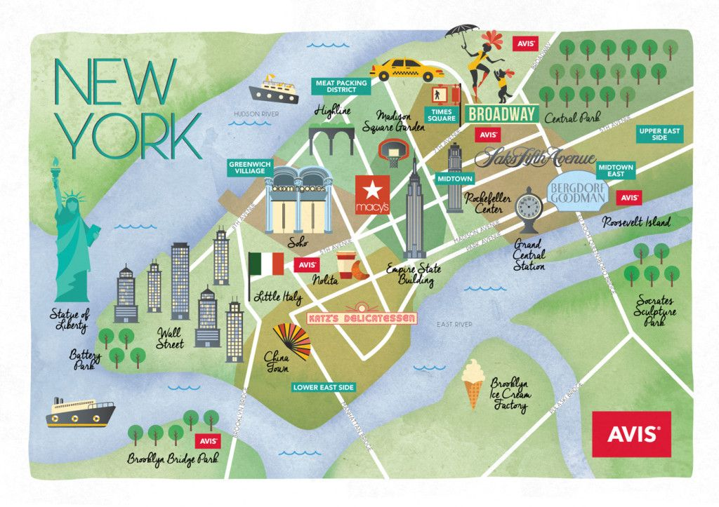 Avis Map Of Manhattan Cartografico Nyc Nueva York