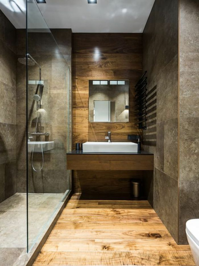1001 id es pour cr er une salle de bain nature salle de bain d coration salle de bain - Salle de bain brun ...