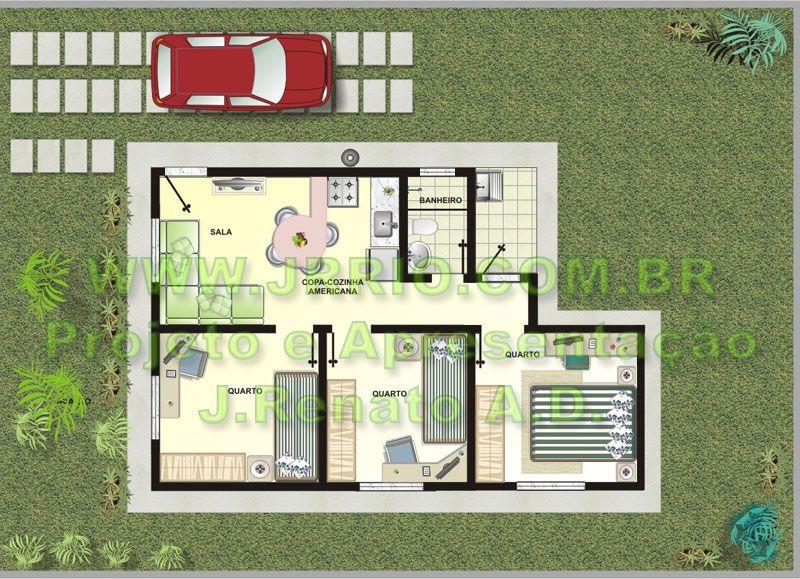 Plantas de casas com tres quartos 3d pesquisa google - Plantas para casas ...