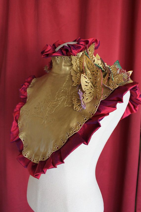 Awakening of spirit  - Gold Leather Butterfly Chest Plate with Pink Silk Ruffles - Ready to ship