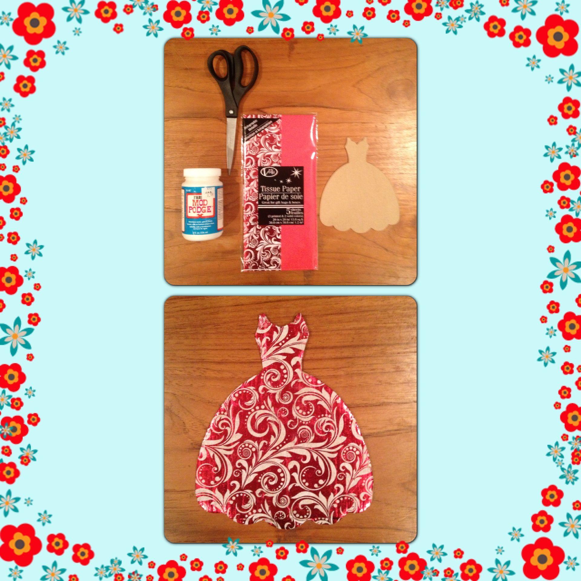 #Sizzix Fabi Dress Die Cut Tissue Paper Cardboard Christmas Ornament