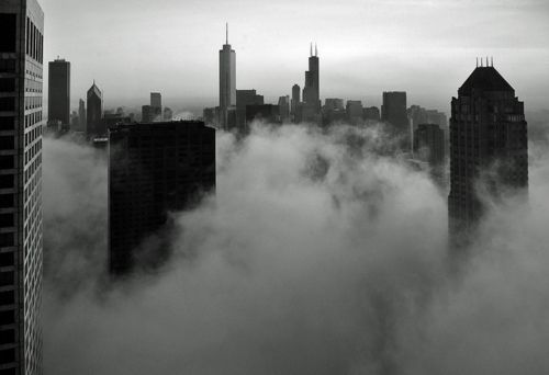Chicago, cityscape, fog, black & white