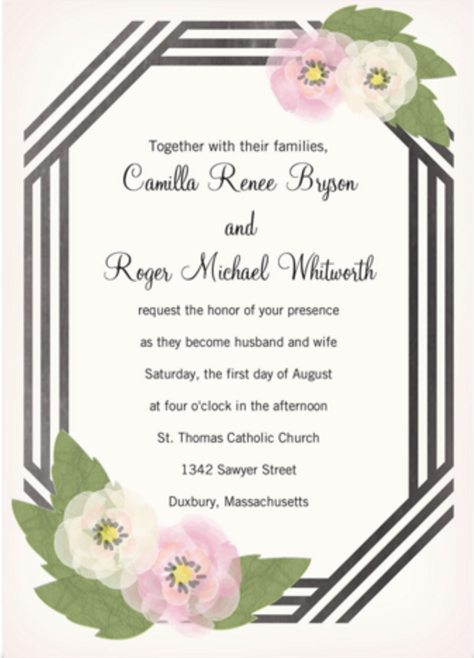 Invite Family And Friends To Celebrate Your Big Day With The Black White Ribbon Wedding