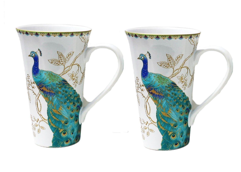 222 Fifth Peacock Latte Mugs Set of 2
