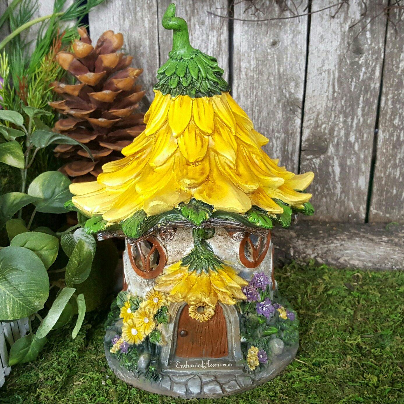 Sunflower Cottage Fairy Garden House - Solar Fairy House for ...