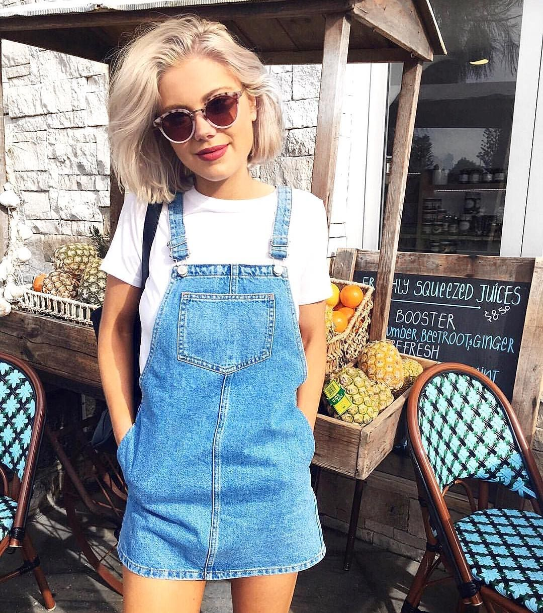 """1a4c9571c7b Topshop Australia on Instagram  """"Sundays are meant for denim pinafores and  brunching. Shop  laurajadestone s look instore now 💙"""""""