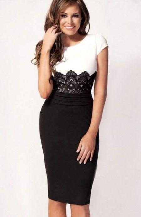 fdb8fd304edb Vestido tubinho com detalhe em renda | Black & white | Vestidos de ...