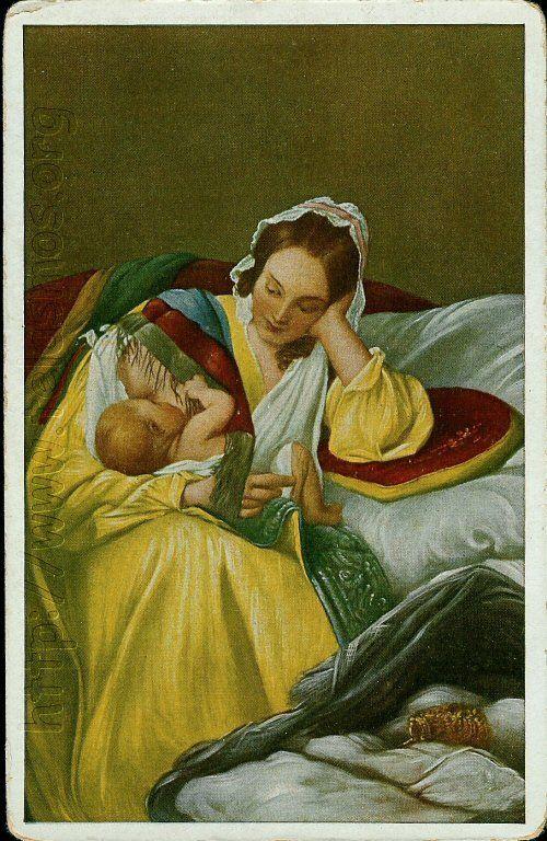 """Josef Danhauser (1805-1845) Austrian  : """"Die Mutterliebe """"1 839, oil on canvas , 50,7 x 42 cm , Österreichische Galerie Belvedere , Vienna ."""