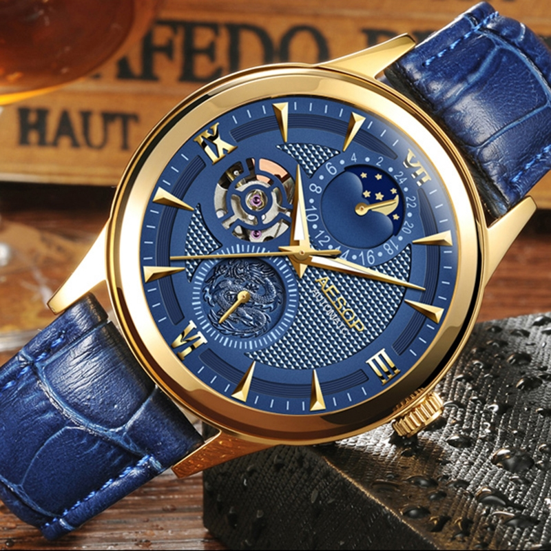 94.00$  Buy here - http://ali4fm.shopchina.info/1/go.php?t=32695466894 - Fashion AESOP  Moon Phase watch men leather Automatic mechanical Sapphire waterproof date watch relogio masculino  #aliexpresschina