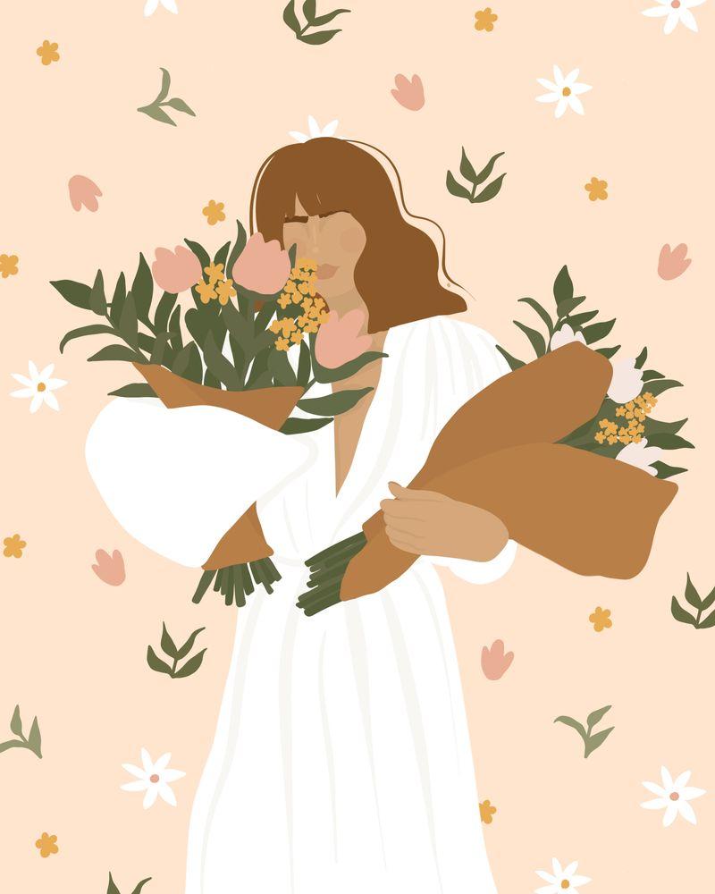 FLOWER GIRL illustration art print Mini Art Print by nicolajanecreative