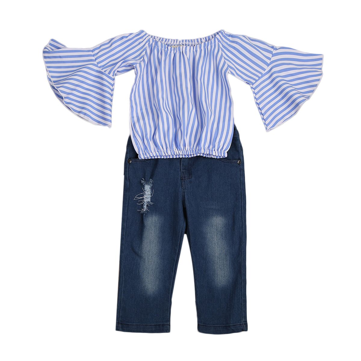 177ca16c3d4aa ... directly from China baby girl outfit Suppliers  Fashion Kids Baby Girls  Outfits Off Shoulder Striped Blouse Tops T-shirt+Denim Jeans Pants Clothes  Set