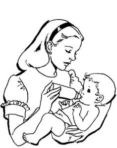 Mother Feeding Her Baby Coloring Page Baby Coloring Pages Mom Coloring Pages Coloring Pages For Girls
