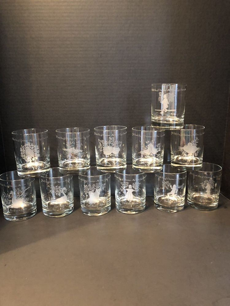 12 Days Of Christmas Clear Glass Rocks Frosted Etched Tumblers Vintage 1970 S Ebay Glass Rocks Christmas Tumblers Christmas Glasses
