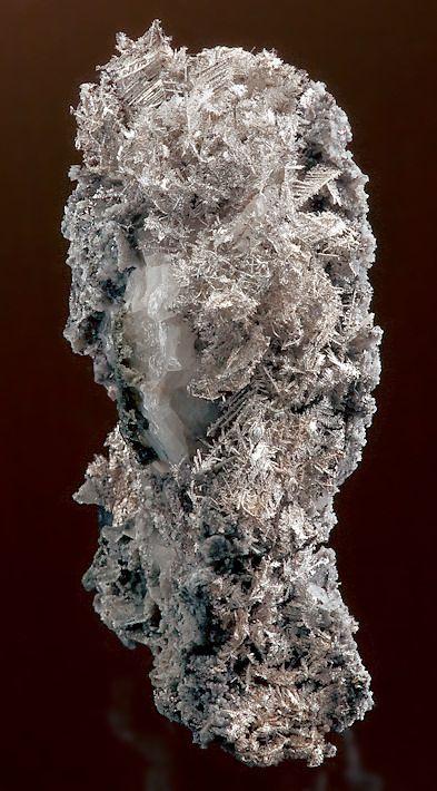 Fine dendrites of Native Silver in and on Calcite | Sten | Sten