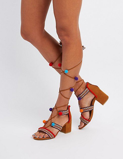 e0670366fe6 Bamboo Embroidered Pom Pom Sandals