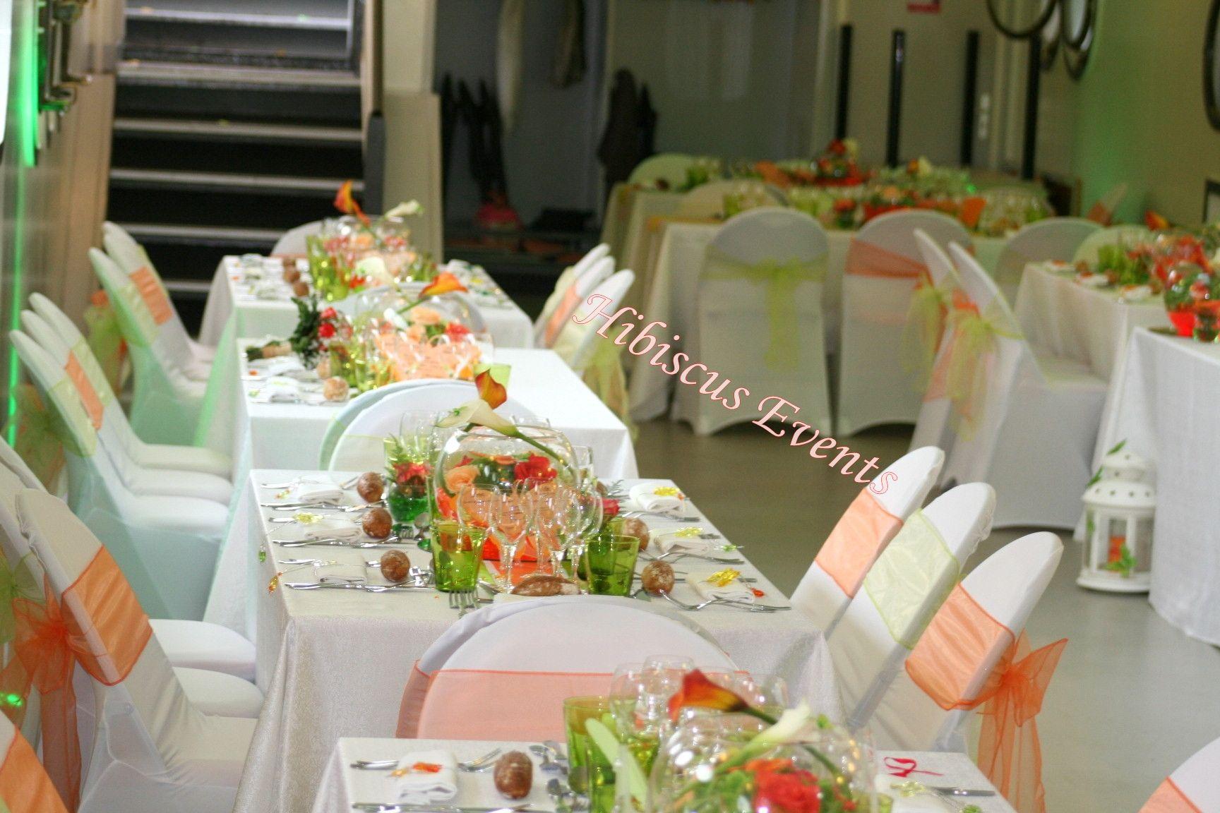 décoration de table aux couleurs vert anis et orange #hibiscusevents