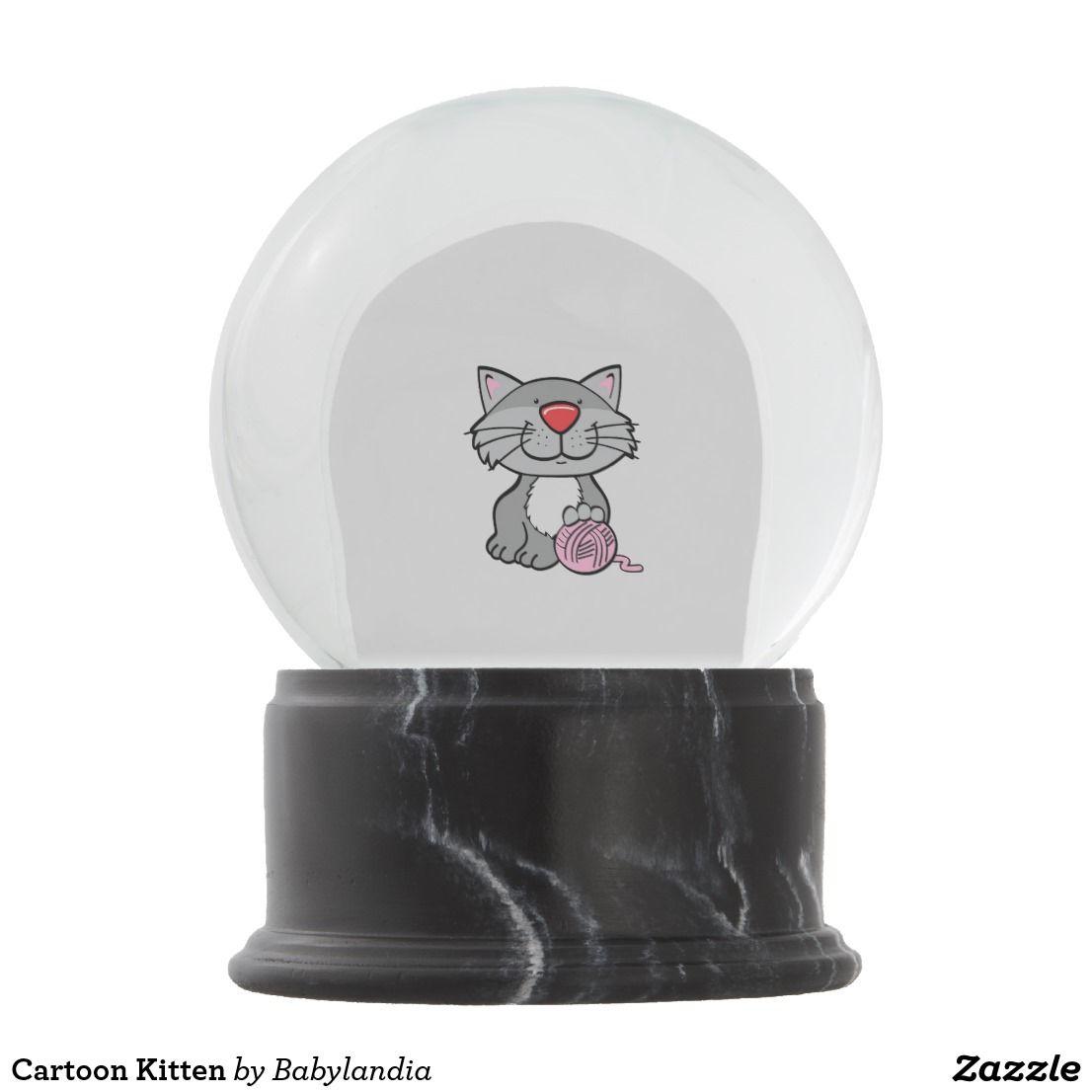 Cartoon Kitten Snow Globe Snow Globes Kitten Cartoon Feline Pet