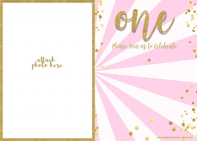 Free 1st Birthday Invitation Pink And Gold Glitter Template 1st Birthday Invitations 1st Birthday Invitations Girl 1st Birthday Invitation Template