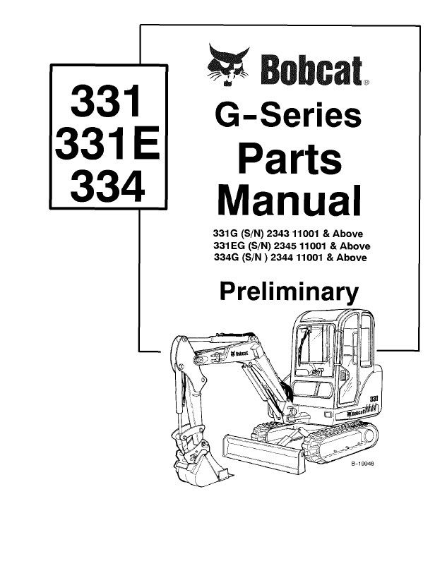 spare parts catalogs Bobcat 331 331E 334 G-Series
