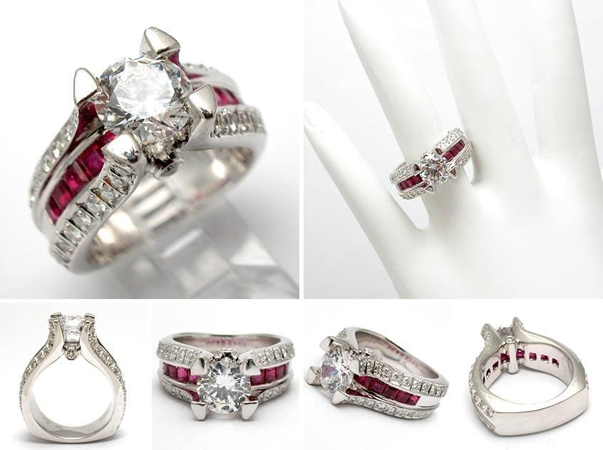 natural ruby u0026amp diamond engagement ring semi mount solid