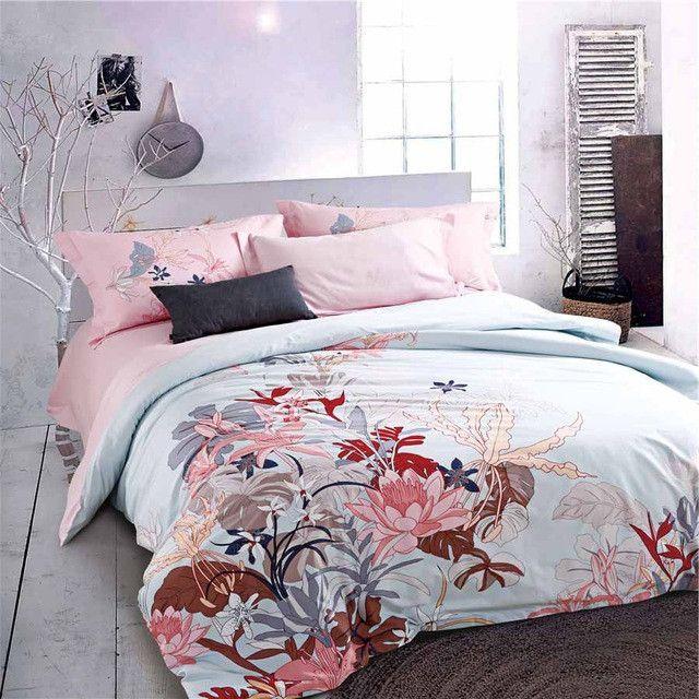 Flower Birds Sanding Egyptian Cotton King Queen Bedding Sets Of Density  Europe Fashion Deco Duvet Cover