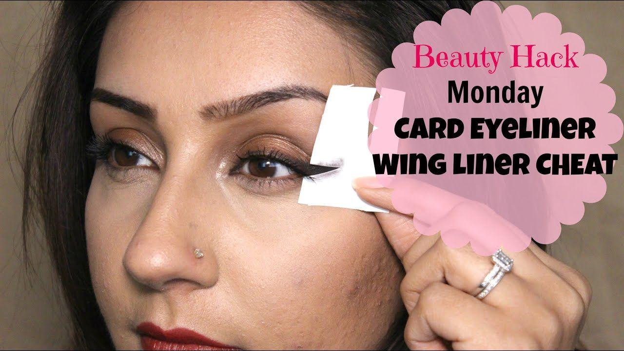 Beauty Hack EASY winged eye liner using CARD Makeup