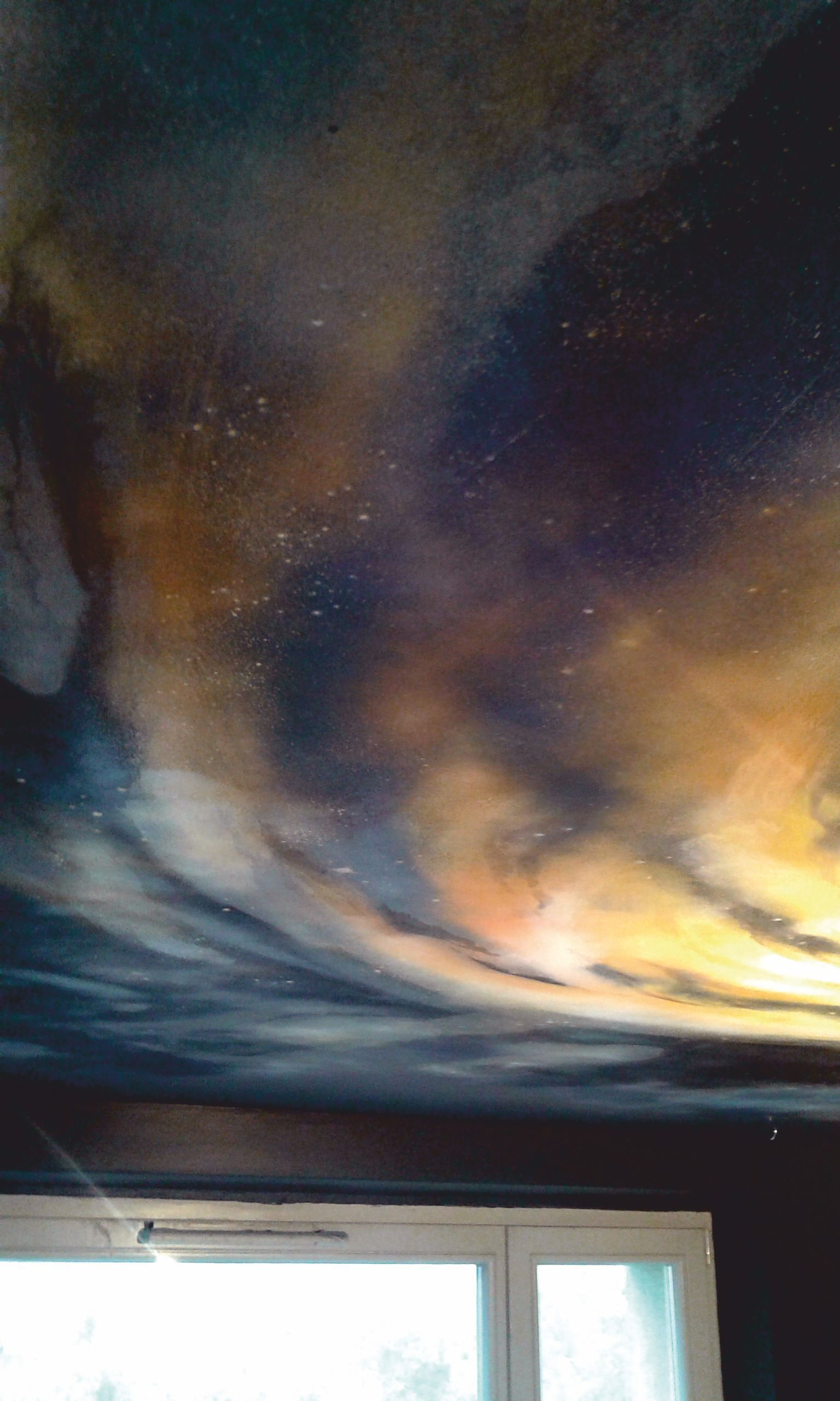 ceiling mural of a sunset sky on a large domed ceiling -painted by ...