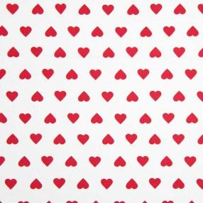 Stoff weiß/rote Herzen 160cm