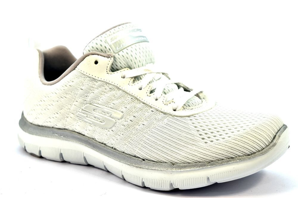 SKECHERS 12757 WSL BREAK BIANCO ARGENTO Donna Sneakers ...