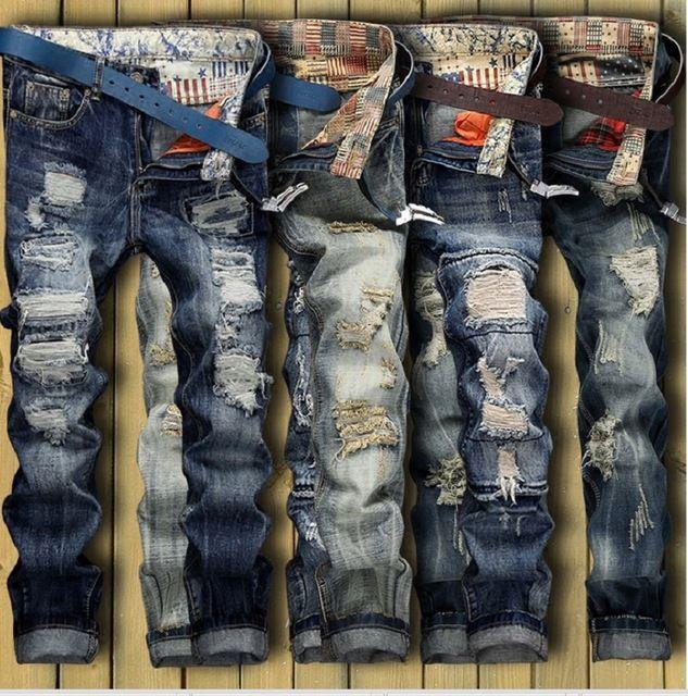 a898f6c7e Estilo Americano europeo 2017 marca de moda de calidad de lujo de Los  Hombres casual denim jeans pantalones Rectos azul pop slim jeans Vintage