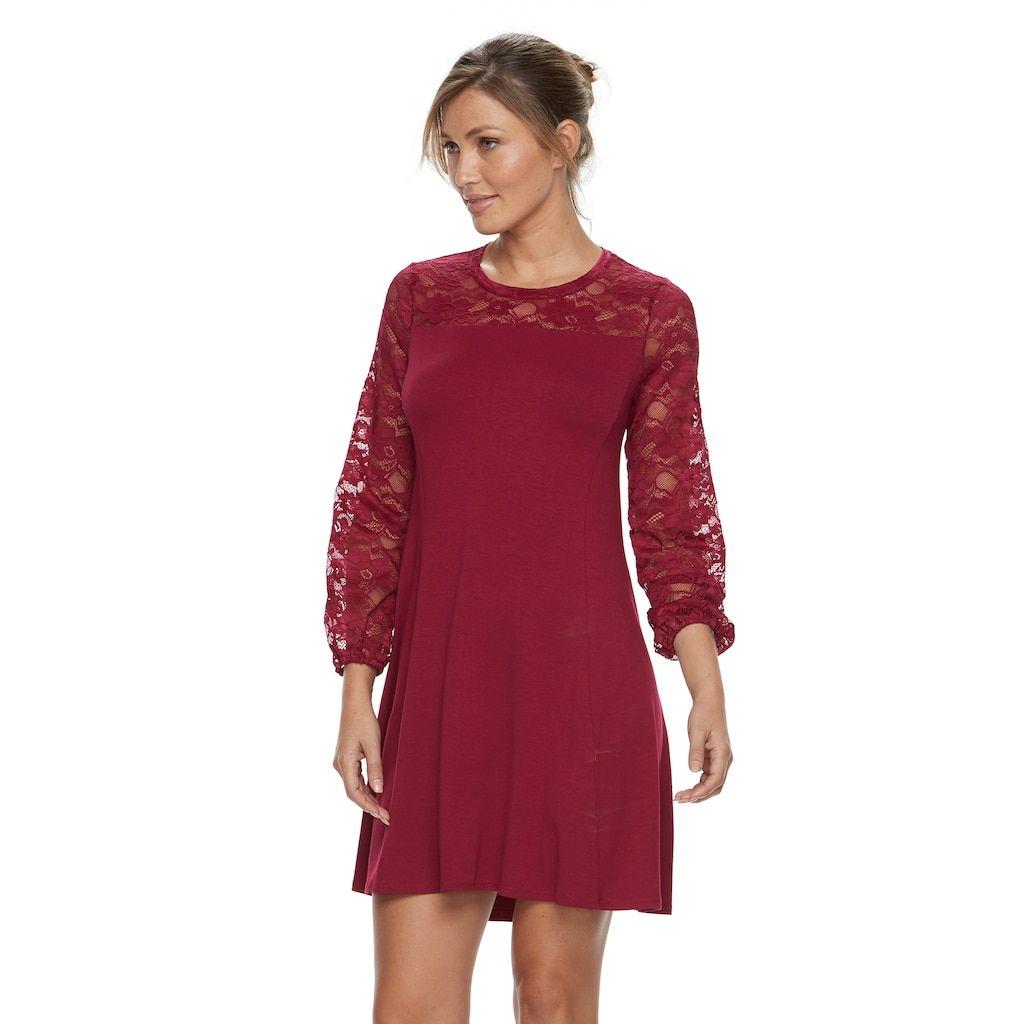 Petite apt lace yoke aline dress black products
