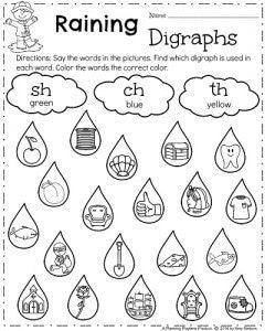 First Grade Spring Worksheets , Raining Digraphs